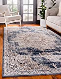 Unique Loom Chateau Collection Vintage, Distressed, Medallion, Rustic, Traditional Area Rug, 5' 0 x 8' 0 Rectangular, Beige/Navy Blue
