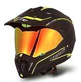 NENKI Dual Sport Helmet Full Face Motocross & Motorcycle Helmets Dot Approved with Iridium Red Visor Attached Clear Visor NK-310 (M, Matt Black & Fluo Yellow)