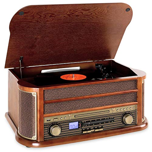 AUNA Belle Epoque 1908 - Impianto Stereo retr, Giradischi, Bluetooth, Radio AM/FM, Display Banda di...