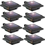 Solar Gutter Light,LED Gutter Light,40 LEDs,2W,Light Sensing,Black,Cold White Light Set of 8Pcs(Black)