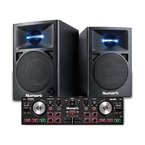 Numark DJ2GO2 Touch + N-Wave 360 - Console DJ Compatta a Due Deck + Casse PC con illuminazione a LED & Serato DJ Lite