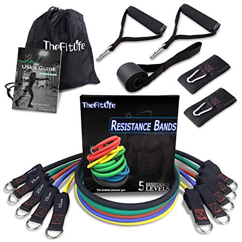 TheFitLife Set di Fasce per Esercizi e Resistenza - Elastici per Allenamento per Sport Indoor e...
