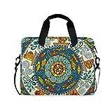 FELIZM - Funda para portátil con correa para el hombro, diseño de mandala floral, para hombres, mujeres, niños y niñas, 15-16 pulgadas