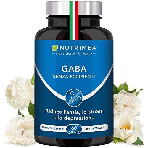 GABA | Stress | Sonno | Relax | Concentrazione | 60 Capsule di Origine Vegetale | Nutrimea | Vegano | 750 mg al giorno
