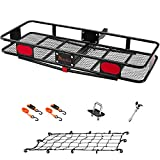 KING BIRD Upgraded 60' x 24' x 6' Hitch Mount Folding Cargo Carrier Fits to 2'' Receiver,500LBS Capacity Cargo Basket with Trailer Hitch Lock,Hitch Stabilizer,Net and Straps