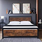 YAKEY Full Size Bed Frame with Modern Wooden Headboard / Heavy Duty Platform Metal Bed Frame with Square Frame Footboard, 13' Under Bed Storage, Noise Free, No Box Spring Needed