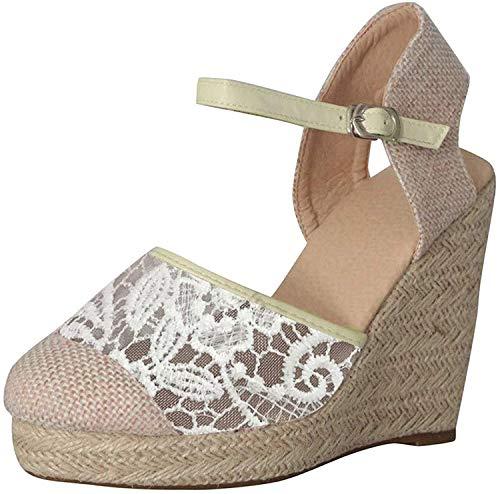 Minetom Mujer Sandalias de Plataforma Tacón Alto Cuña Elegante Encaje Alpargatas Espadrilles Hebilla Chancletas Zapatillas Confort Transpirable Zapatos de Verano Beige 35 EU