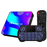 Newest Android TV Box 10.0,RK3318 USB 3.0 Ultra HD 4K HDR 4GB RAM 64GB ROM 2.4G 5.8G Dual Band WiFi with BT 4.1 WiFi 100M Ethernet with Backlit Mini Keyboard Set Top TV Box