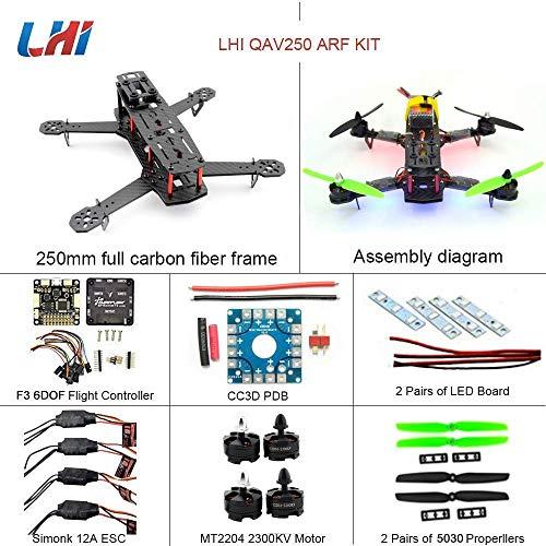 LHI QAV250 Pure Carbon Fiber Mini Quadcopter Race Copter Frame Kit ARF + F3 6DOF Flight Controller + MT2204 2300KV Motor + Simonk 12A ESC + 5030 Propellerotor + Simonk 12A ESC + 5030 propeller