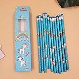 lapiceros SFBBBO Lindo lápiz de unicornio de dibujos animados Kawaii HB artículos de dibujo papelería de dibujo material de oficina escolar para niños regalo azul