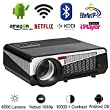 Gzunelic 6500 lumens Android WiFi 1080p Video Projector LCD LED Full HD Theater Proyector with...