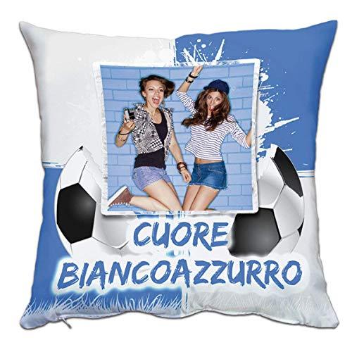 - Senza marca/Generico - Cuscino Personalizzato Personalizzabile Stampa Foto Sport Calcio Cuore Bianco Azzurro Brescia