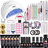 36W Lámpara Kit Uñas de Gel Completo, MYSWEETY Kit de Inicio de Manicura con 6 Extensión 4 Color Gels, Capa Superior, Capa Base y Accesorios...