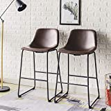 Rfiver Pu Leather Bar Stools Rustic Barstools with Back and Footrest, Kitchen Bar Height Stool Chairs Set of 2, Brown BS1002