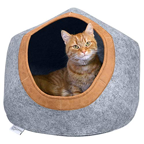 Kitty City Felt Round Bed, Warm and Cozy cat Bed, Gray