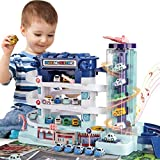 Baby Home Toddler Car Parking Garage Building Toy Puzzle Race Track Toys with Ramp Elevator and 4 Mini Cars Gift for Boy Girl Age 3+
