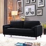Divano Roma Furniture Middle Century Modern Linen Fabric Living Room Sofa (Black)