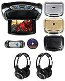 Rockville RVD9BGB Black/Grey/Beige 9' DVD Flip Down Car Monitor, HDMI+Headphones