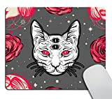 Smooffly Dark Witchy with Four Eyed Lady Computer Mouse Pad,Cat and Roses Floral Desk Decor