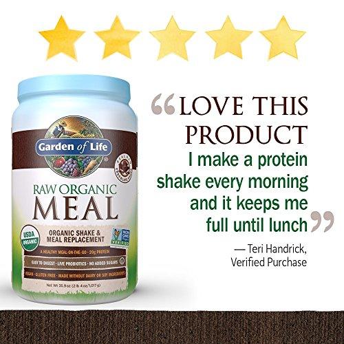 Garden of Life Meal Replacement - Organic Raw Plant Based Protein Powder, Chocolate, Vegan, Gluten-Free, 35.9oz (2lb 4oz/1,017g) Powder 3