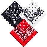 Ealicere 3PC Paisley Bandanas(rouge, blanc, noir), unisexe écharpe...