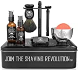 Luxury Safety Razor Shaving Kit - Includes Double Edge Safety Razor, Stand, Bowl, After-Shave Balm, Pre-Shave Oil, Badger Brush - Safety Razor Kit