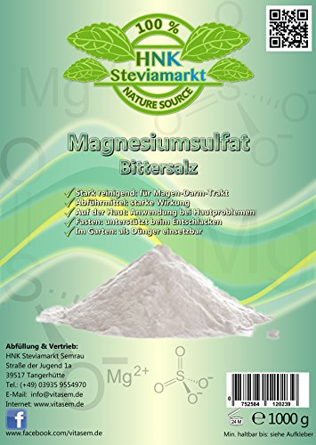 Sales de Epsom - sulfato de magnesio 1 kg - ayuda natural pa