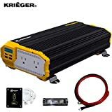 Krieger 2000 Watts Power Inverter 12V to 110V, Modified Sine Wave Car Inverter, Dual 110 Volt AC Outlets, DC to AC Converter with Installation Kit Included - MET Approved to UL and CSA Standards