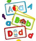 Juego de tarjetas de memoria y letras de espuma de Columbus. 26 tarjetas flash del alfabeto con 78 letras magnéticas. ABC juegos para niños pequeños para aprender a leer, deletrear y practicar fonica.