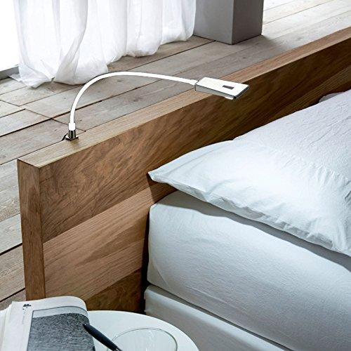 2 x SO-TECH® LED Bettleuchte Luminoso Weiß inkl. 1 x Netzteil Flexleuchte Leseleuchte Schwanenhalsleuchte