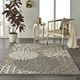 Nourison Aloha Indoor/Outdoor Floral Natural 3'6' x 5'6' Area Rug (4' x 6'), 3'6'X5'6'