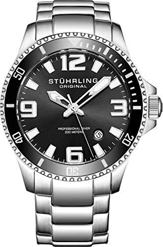 Stuhrling Original Mens Swiss Quartz Stainless Steel Sport Analog Dive Watch