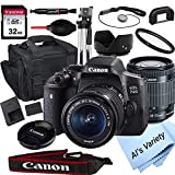 Canon EOS 750D (Rebel T6i) DSLR Camera with 18-55mm f/3.5-5.6 STM Zoom Lens + 32GB Card, Tripod,...