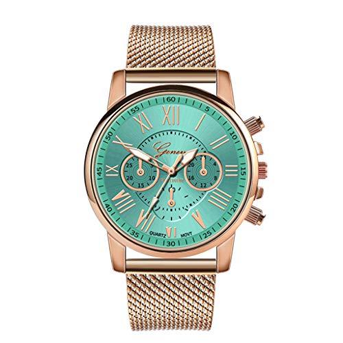 Armbanduhr Damen Ronamick Luxux quarz Spor Militär Edelstahl Dial Leder armband Armbanduhr Armbanduhr Armband Uhr Uhren (Grün)