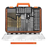ENERTWIST Drill Bit Set, 112-Pieces 1/4' Hex Shank Impact Driver Bits and Screwdriver Bits Set Assorted in Tough Case for Wood Metal Cement Drilling and Screw Driving, ET-DBA-112