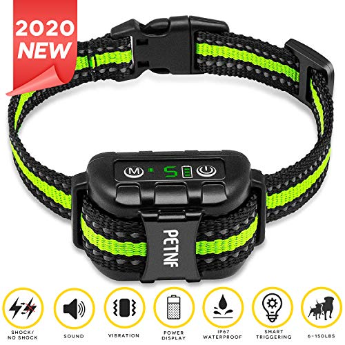 2020 Upgraded Bark Collar Large Medium Small Dog,Dog Barking Control Devices Deterrent,E collars for dogs,Rechargeable Waterproof Shock Collar for Dogs,Anti Barking Device for Dogs,Dog Shock Collar