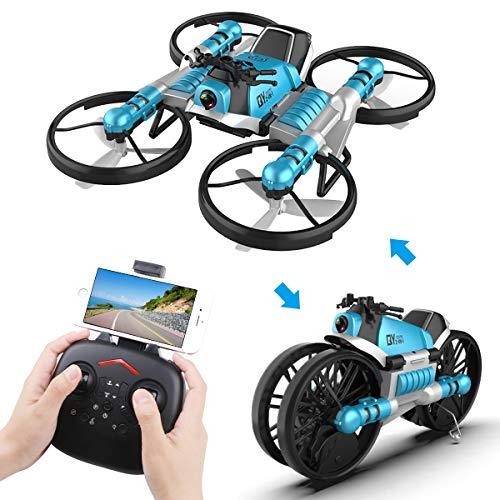 Makerfire 2 in 1 RC Pieghevole Drone con Telecamera, Wi-Fi Live Video One Key Return Altitude Hold modalit Senza Testa Giocattolo Regalo per Bambini Adulti