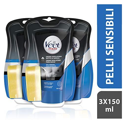 Veet For Men, Pelli Sensibili (Depilazione sotto la doccia, 3 confezioni da 150ml)