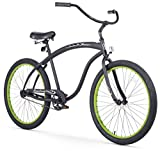 Firmstrong Bruiser Man Single Speed Beach Cruiser Bicycle, 26-Inch, Matte Black/Green Rims