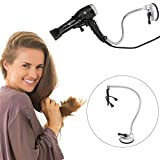 360 Degrees Rotation Hairdryer Stand, Stainless Hair Dryer Hands Free Holder with Suction Up for Glass Desktop Smooth Surface