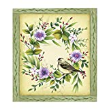 Charming Spring Wreath Dishwasher Magnet - Use on Metal to Add Color and Style - Features Accented Purple and White Flowers and a Perched Bird