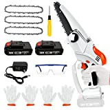 Mini Chainsaw,Yalaghon 6-Inch Mini Cordless Chainsaw Kit With 3Pcs Chains And 2Pcs Battery,15000mAh Electric Small Chainsaw Handheld With Safety Lock,Battery Powered Chainsaw For Yard Branch Trimming