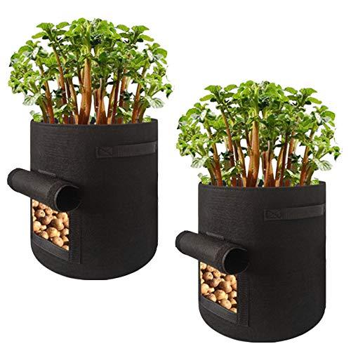 AWNIC Maceta Textil no Tejido Patatas Sacos para Plantas con Placa [2 Piezas] Mini Huerto Urbano Transpirable Duradero 37L Ø35X45cm