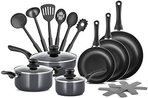 Chefs Star Professional Grade Aluminium 15 pezzi Set di pentole e padelle antiaderenti Set di...