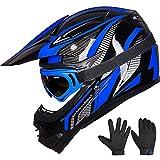 ILM Youth Kids ATV Motocross Dirt Bike Motorcycle BMX Downhill Off-Road MTB Mountain Bike Helmet DOT Approved (Youth-L, Blue/Silver)