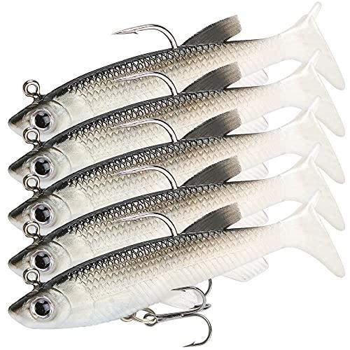 GZGXKJ 5 Pezzi Esche Artificiali Esche da Pesca Esca Bionica Esche Artificiali Esche Luccio con Ami da Pesca, Kit Pesca per Pesca alla Trota, Spigola, Persico