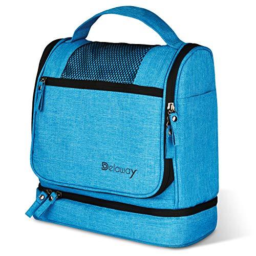 DELAWAY® XXL Kulturbeutel zum Aufhängen [Premium-Qualität] Große Kulturtasche Damen und Herren mit besonders leichtläufigen 2-Wege-Reißverschlüssen (Blau)