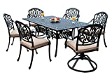 GrandPatioFurniture.com CBM Patio Elisabeth Collection Cast Aluminum 7 Piece Dining Set with A Rectangle Table 2 Swivel Rockers 4 Arm-Chairs SH226-2S4A cbm1290