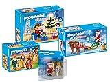 Playmobil Ensemble de 4 pièces pour la Joie de Noël: 9495 9496 9497 9498