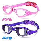 COOLOO Swim Goggles Men, 2 Pack Swimming Goggles for Women Kids Adult Anti-Fog, Pink & Sapphire (Eyewear)